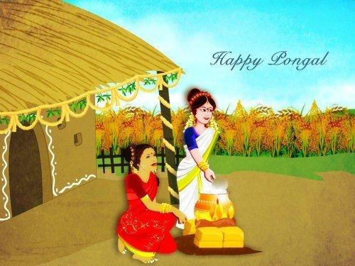 Happy Pongal Ladies Preparing Pongal Dish Graphic