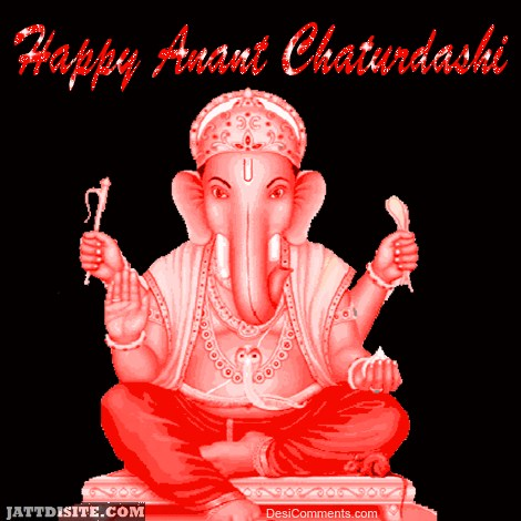Happy Anant Chaturdashi Red Glitter