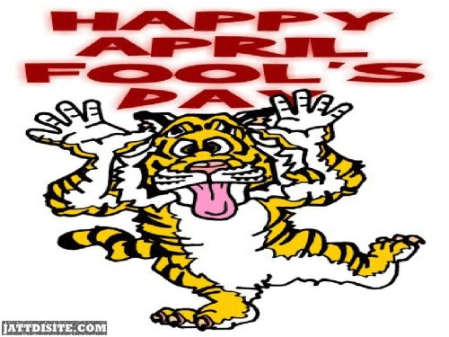 Happy April Fools Day Animated Tiger Graphic