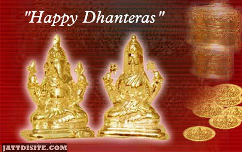 Happy Dhanteras Golden Statue Graphic