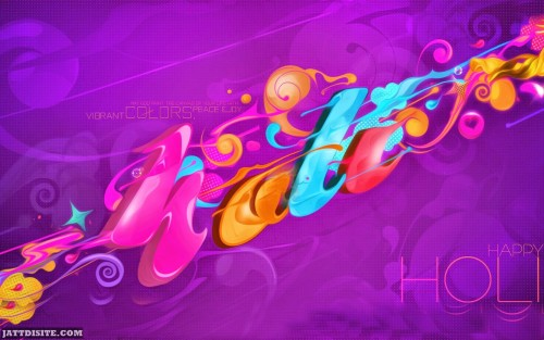 Happy Holi Adorable Colorful Wishes Graphic