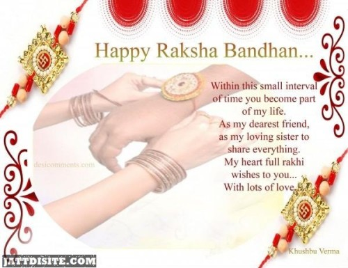 Happy Raksha Bandhan - Within This Small Interval Of Time You Become Part Of My Life