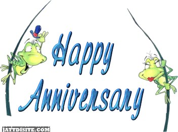 Happy anniversary frog couple graphic