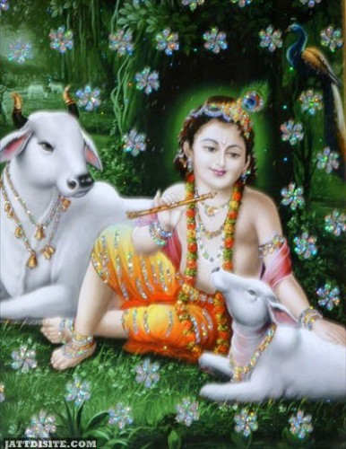 Lord Krishna Sitting With Cows Happy Govardhan Puja