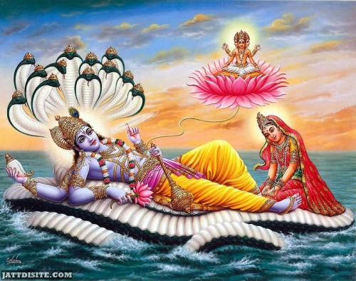 Lord Vishnu Laxmi And Brahma Amalaki Ekadasi Graphic