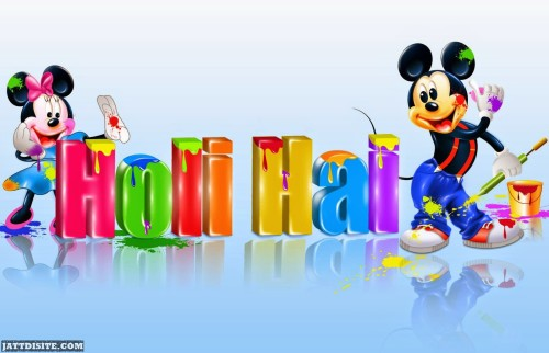 Micky Mouse And Minny Mouse Wishes You Happy Holi