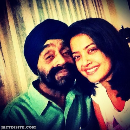 Surveen Chawla With His Papa