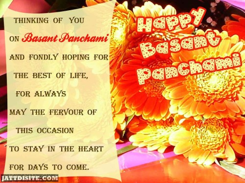 Thinking Of You On Basant Panchami And Fondly Hoping For The Best Of Life For Always