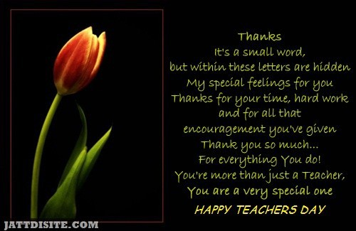 You Are A Very Special One Happy Teachers Day