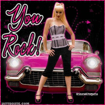 You Rock Girl With Car Glitter