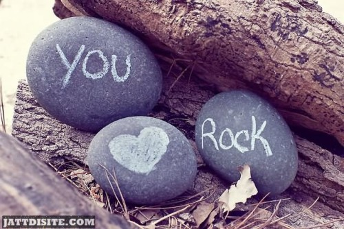 You Rock On Stone Heart Graphic