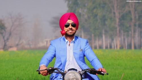 Diljit Dosanjh With Rose And Riding Bullet