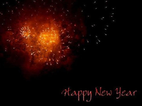 Happy New Year Greeting Fire