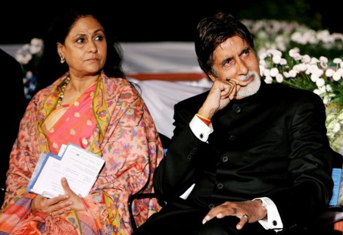 Indian film actor Amitabh Bachchan (R) a