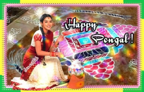Beautiful Girl Wishing You Happy Pongal