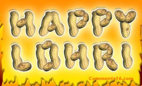 Happy Lohri Text Written With Groundnuts Graphic