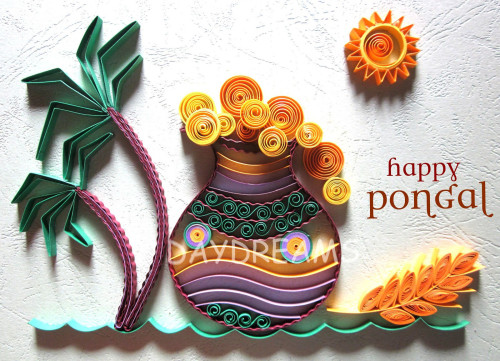 Happy Pongal Adorable Handmade Greeting Card Graphic