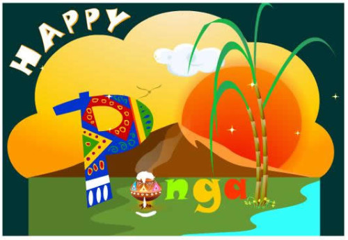 Happy Pongal Colorful Graphic