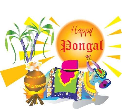 Happy Pongal Decorated Bull Graphic