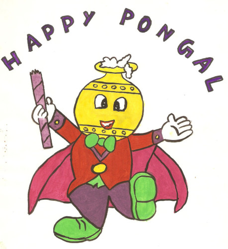 Happy Pongal Funny Men With Pot Mask Graphic