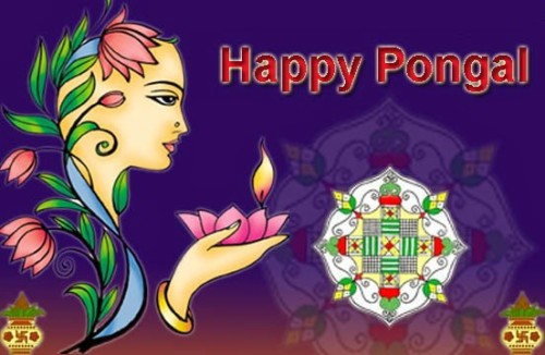 Happy Pongal Greetig Card Girl Face Graphic