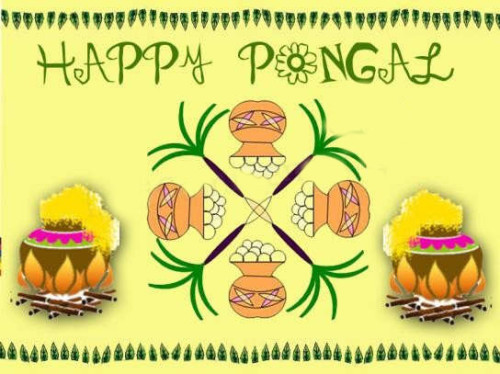 Happy Pongal Greeting Card For Share On Facebook