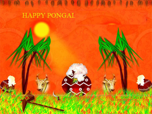 Happy Pongal Handmade Beautiful Greeting Card
