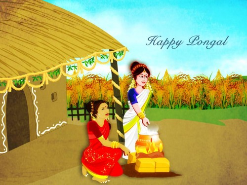 Happy Pongal Ladies Preparing Pongal Dish Graphic