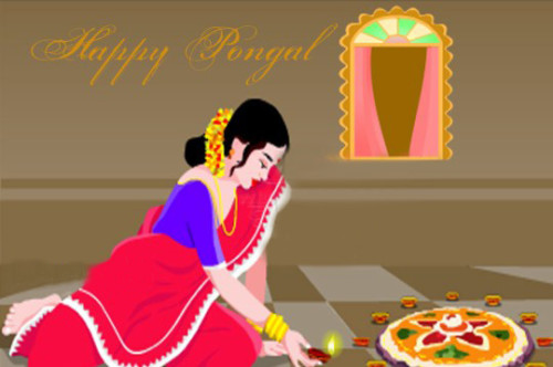 Happy Pongal Lady Lighting Diya Graphic