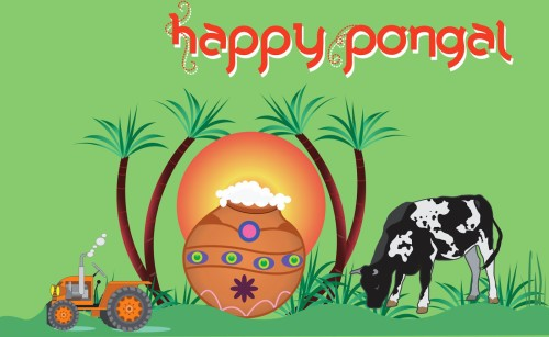 Happy Pongal Pot Bull Tractor Graphic