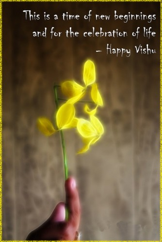 Happy vishu time of beginnings for the celebration of life