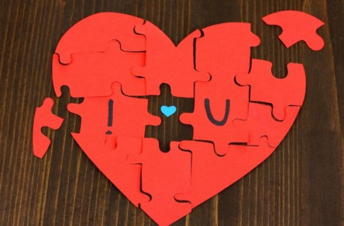 Love Puzzle Heart Red