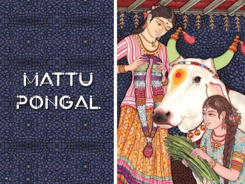 Mattu Pongal Girls With Bull Graphic