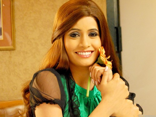 Miss Pooja Posing With Flower