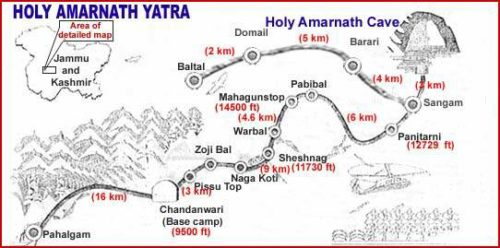 Route Map of Amarnath Yatra
