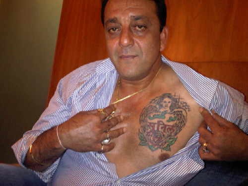 Sanjay Dutt Showing Tattoo On His Chest