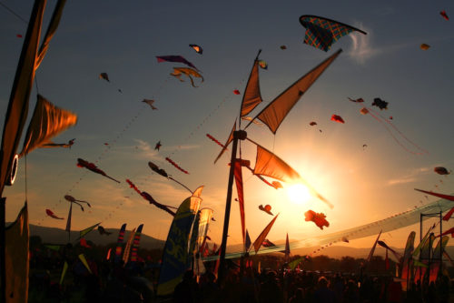 sunset View With Kites