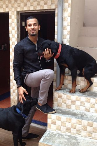 Garry Sandhu With His Dog