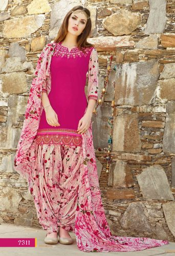 Pink Cotton Patiala Salwar Kameez