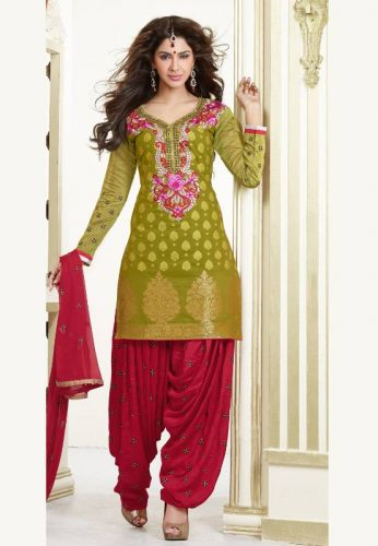 Green & Maroon Patiala Suit