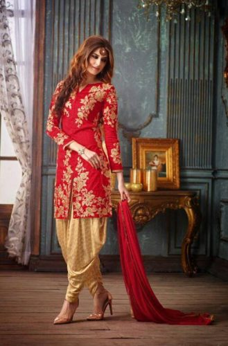 Red & Gold Silk Patiala Suit