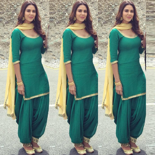 Green Plain Patiala Suit