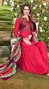 Gorgeous Cotton Reddish Pink And Maroon Patiala Suit