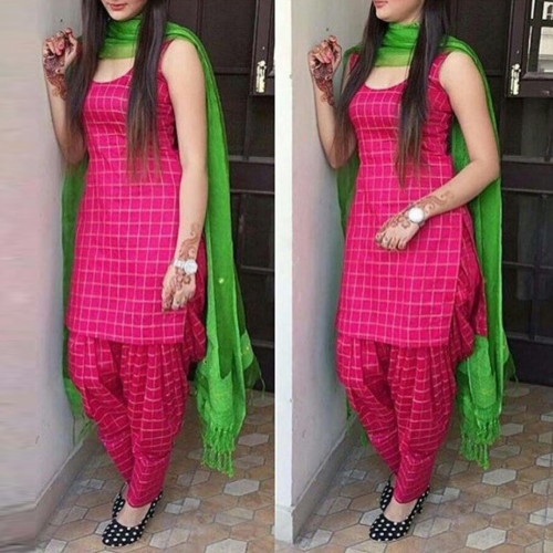 Plain Patiala Suit Pink