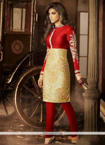 Red And Golden Silk Churidar Suit